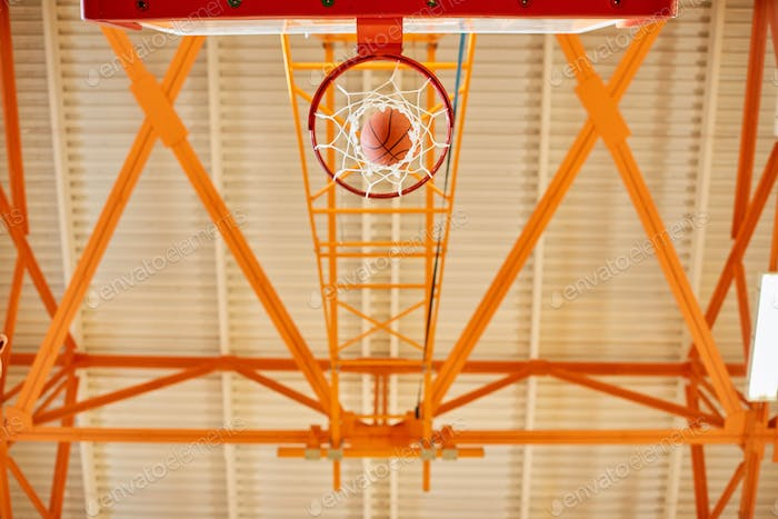 From below basketball goal