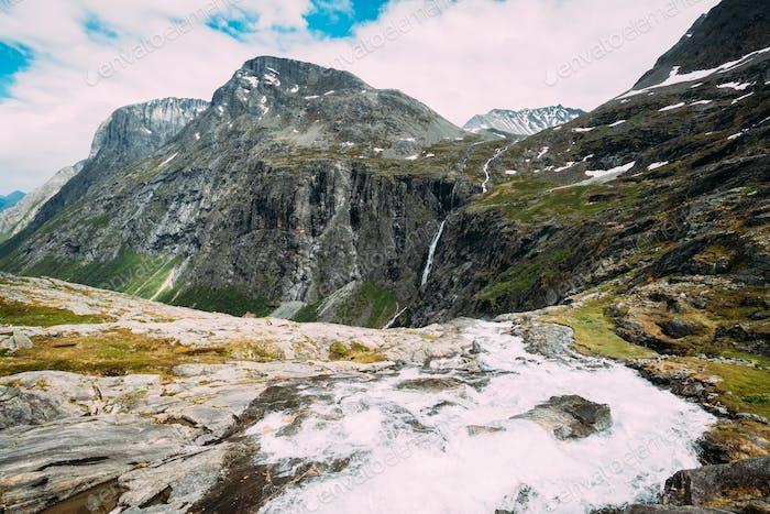 Trollstigen, Andalsnes, Norway. Stigfossen Waterfall Near Famous Mountain Road Trollstigen