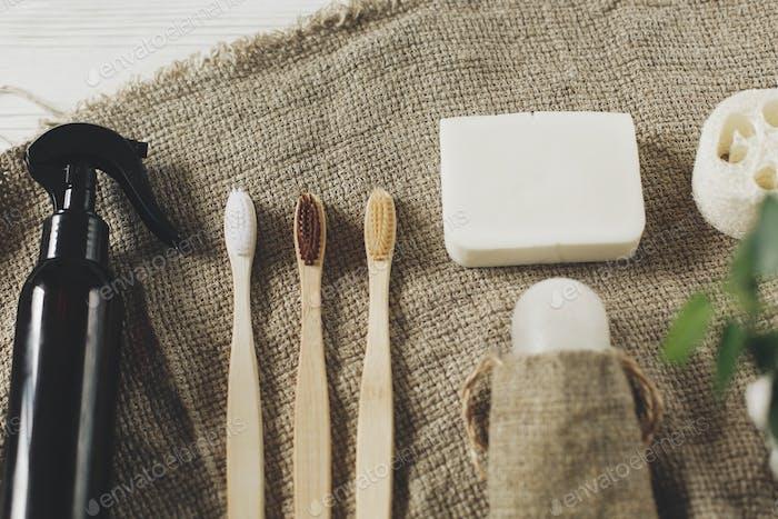 Bathroom essentials, plastic free items
