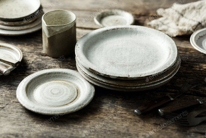 Set of modern ceramic tableware, handmade