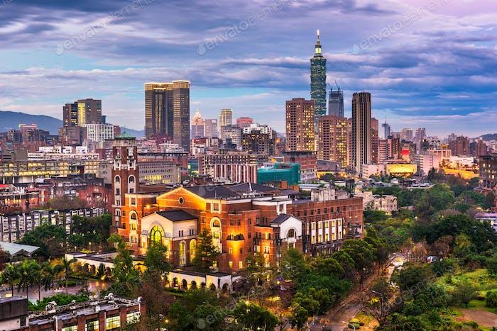 Taipei, Taiwan skyline over National Taiwan University