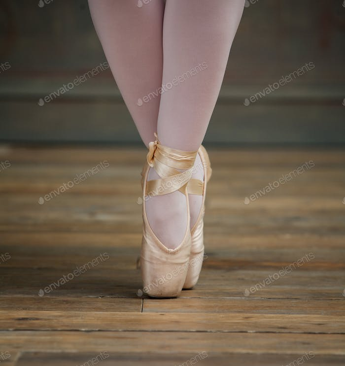 Close Up View of Ballerina Standing on Toes