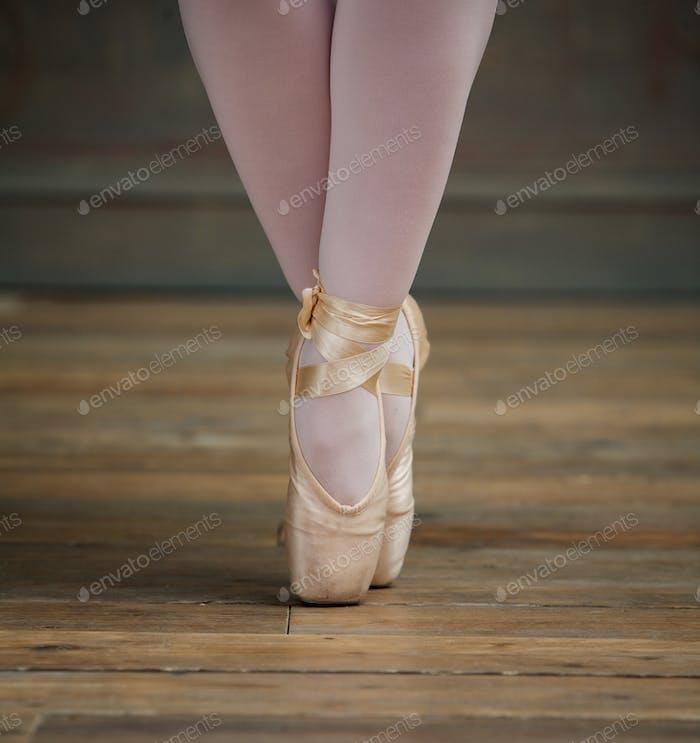 Nahaufnahme Ansicht von Ballerina stehend auf Zehen