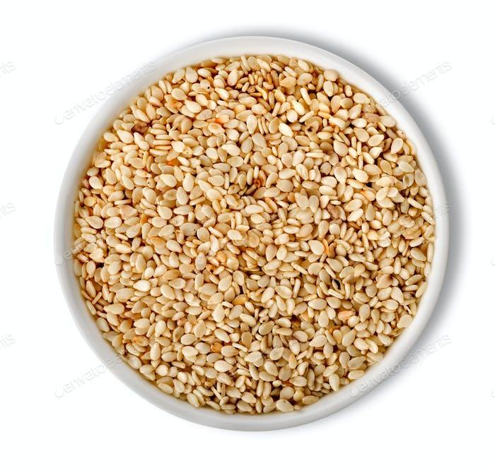 White sesame in plate isolated