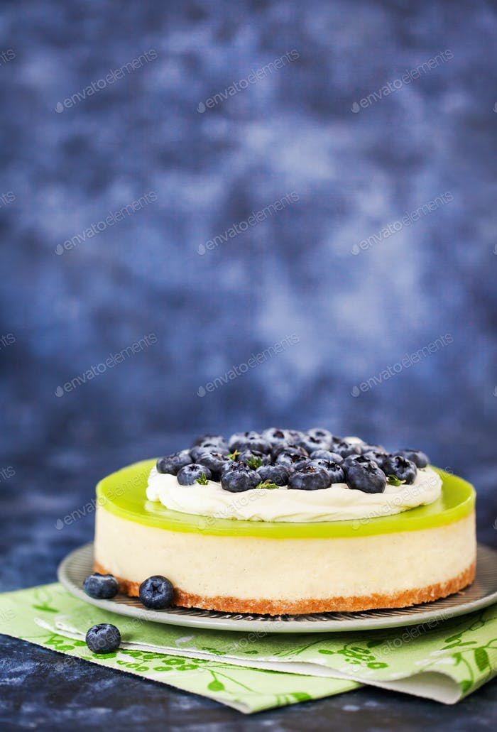 Delicious key lime cheesecake decorated with fresh blueberries