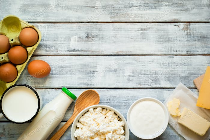 Dairy products on wooden table