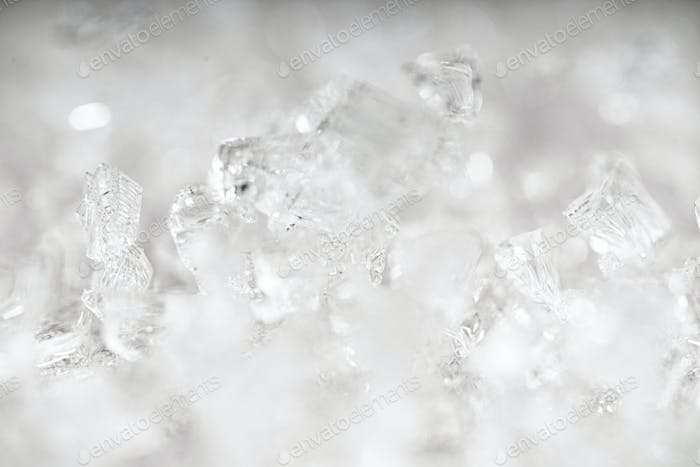 Ice crystals pattern. Background of frozen ice ornament