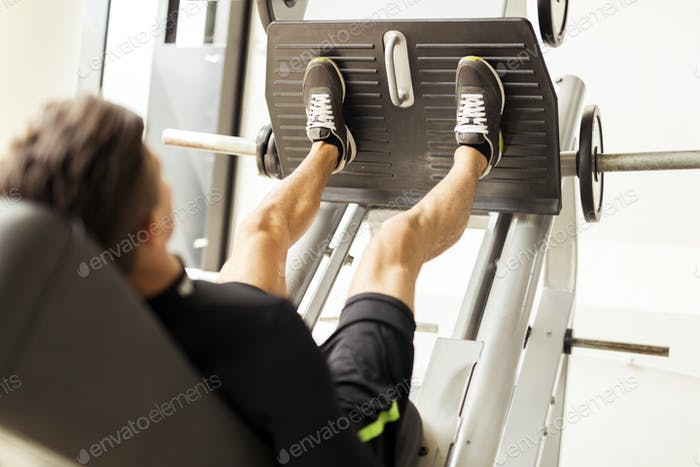 Leg day and workout in a gym