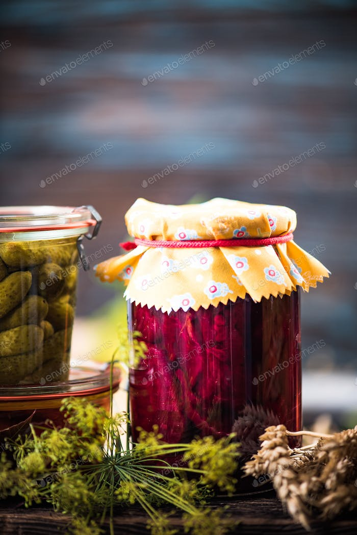 Pickled Marinated beetroot in jar