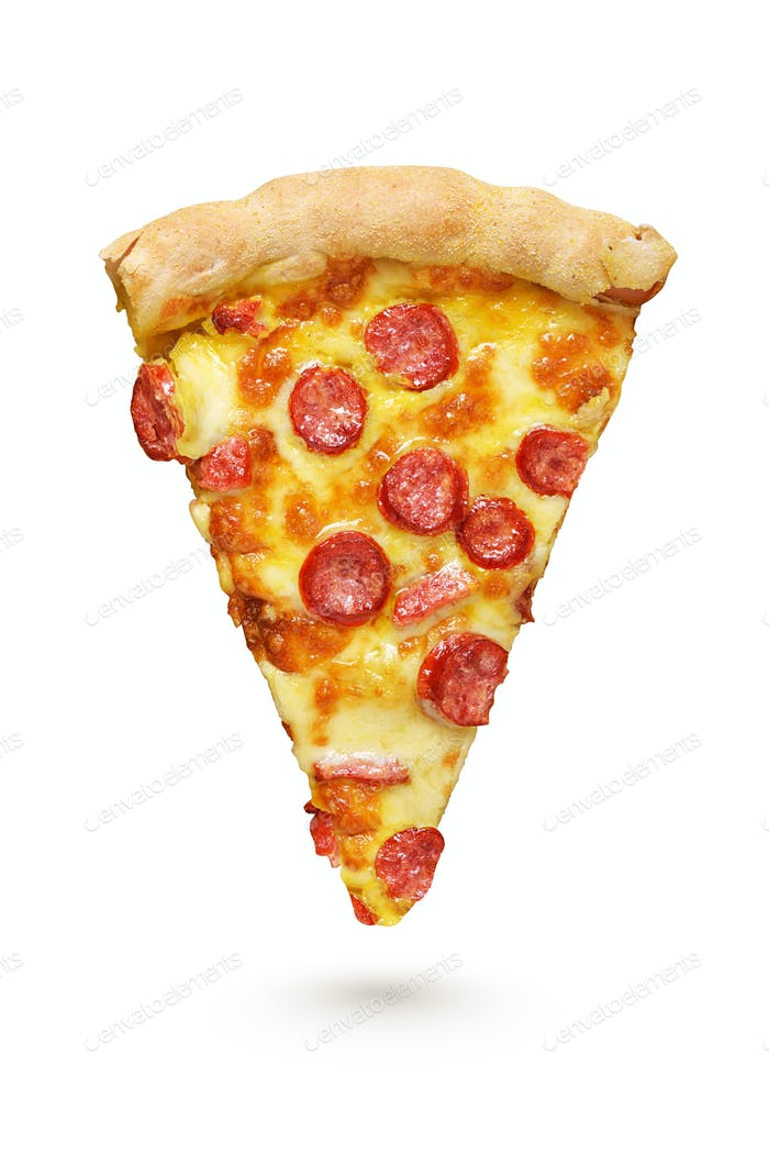 Piece of Pepperoni pizza with sausages isolated on white background.