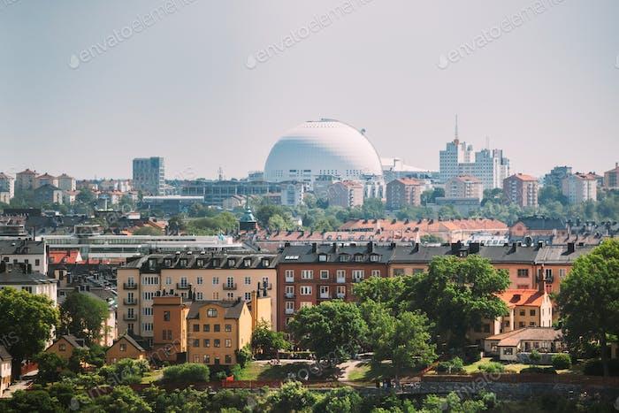 Stockholm, Sweden. Ericsson Globe In Summer Skyline. It's Currently The Largest Hemispherical