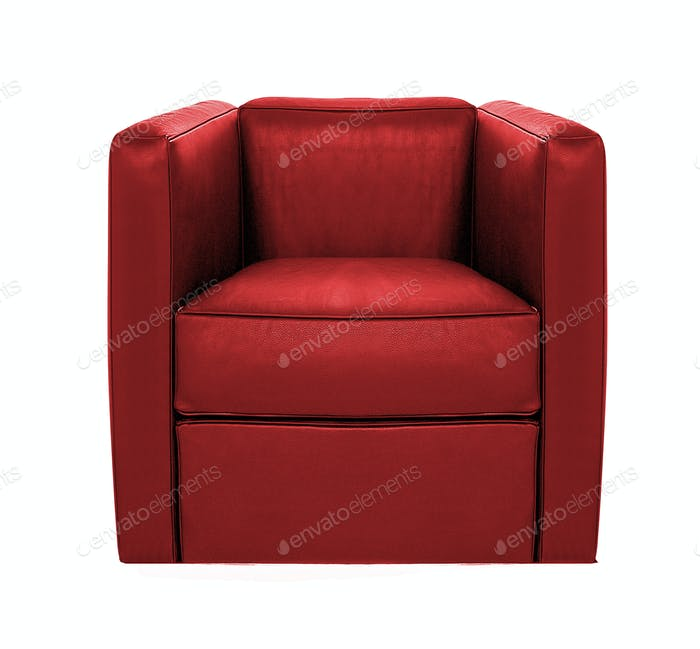 red leather armchair isolated