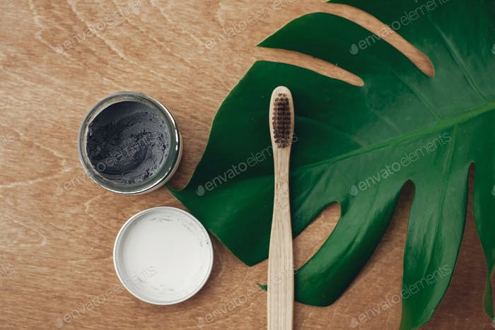 Natural toothpaste activated charcoal and bamboo toothbrush