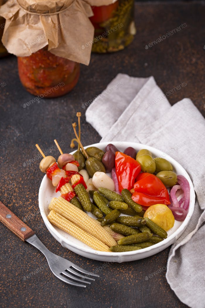 Assortment of marinated or pickled vegetable