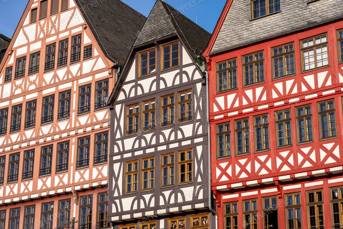 Facade of some half-timbered houses