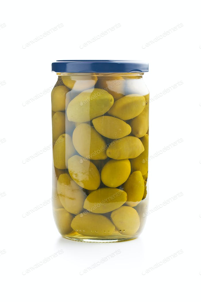 green olives in jar