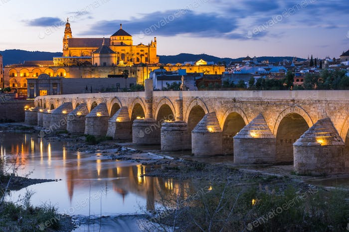 Cordoba, Spain view of the Roman Bridge and Mosque-Cathedral at