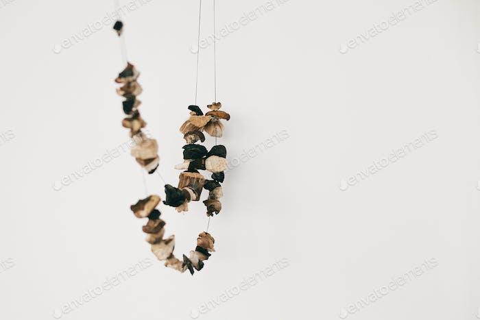 Mushrooms drying on thread
