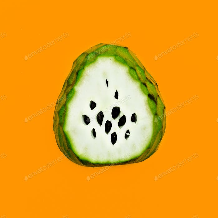 Asian Fruit. Cheremoya Minimal art design Happy vegan idea