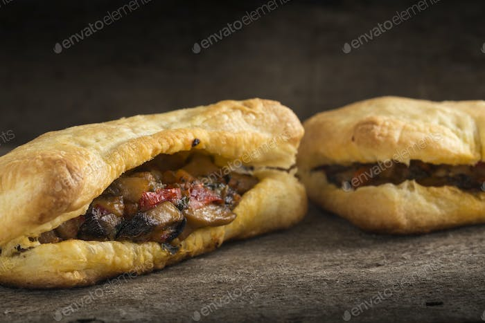Puff pastry stuffed with mushrooms and vegetables