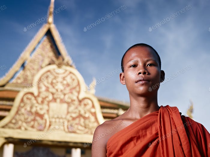 Portrait Of Buddhist Monk Near Temple Cambodia Asia