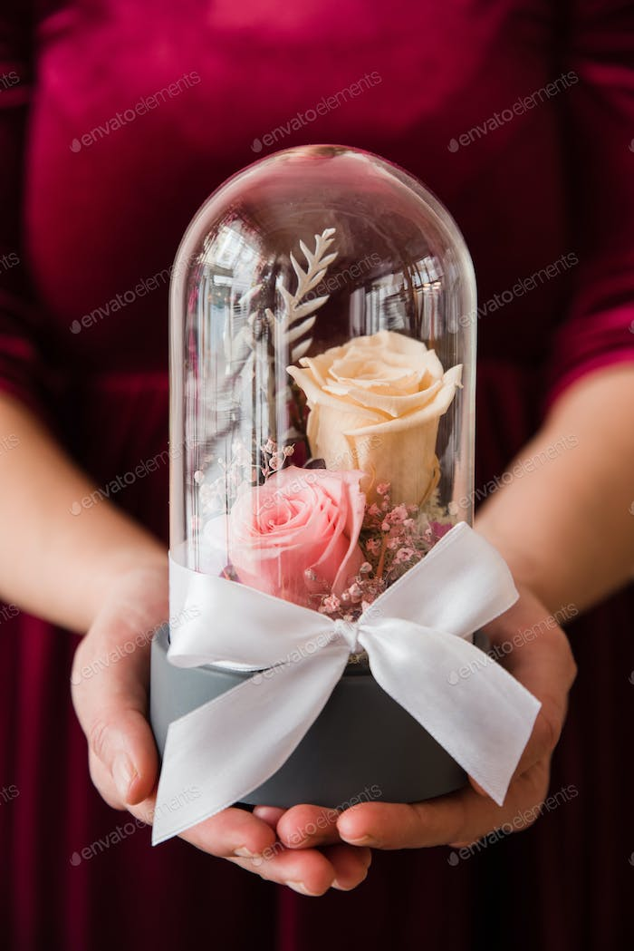 Womans hands holding long-lasting roses in a glass dome