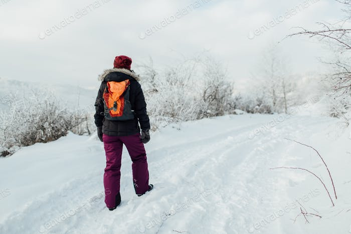 Rear view of a female tourist with a rucksack walking along a snow trek