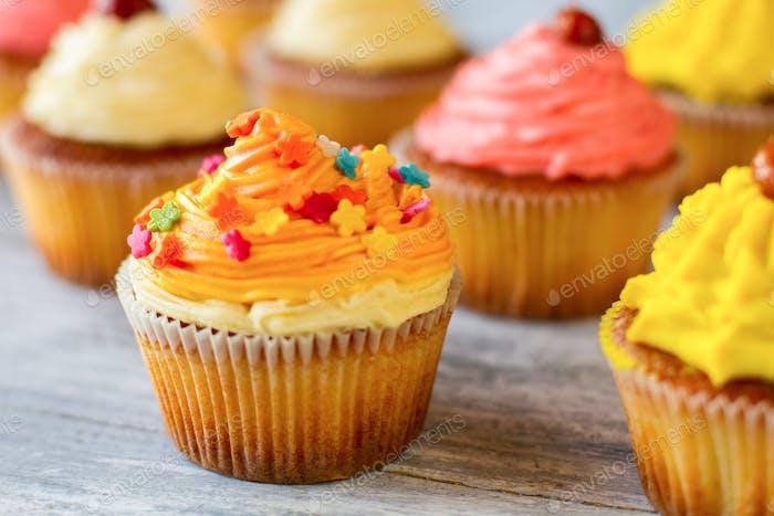 Bright-colored cupcake