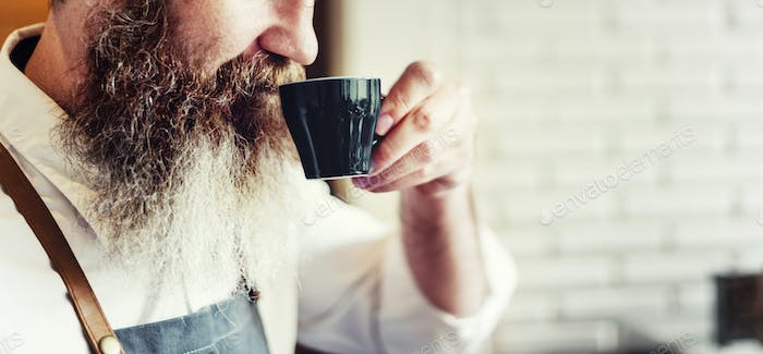 Owner Coffee Shop Man Drinking Coffee Concept