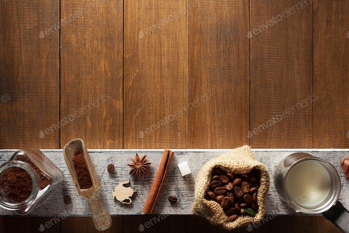 coffee ingredients on wood