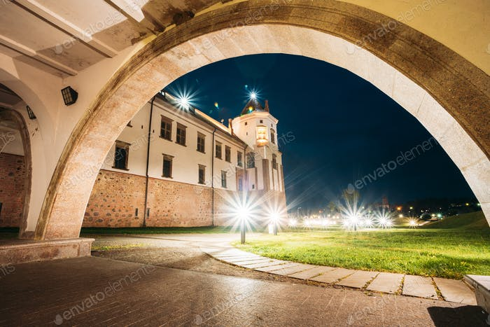 Mir, Belarus. Castle Complex Mir In Evening Night Illumination.