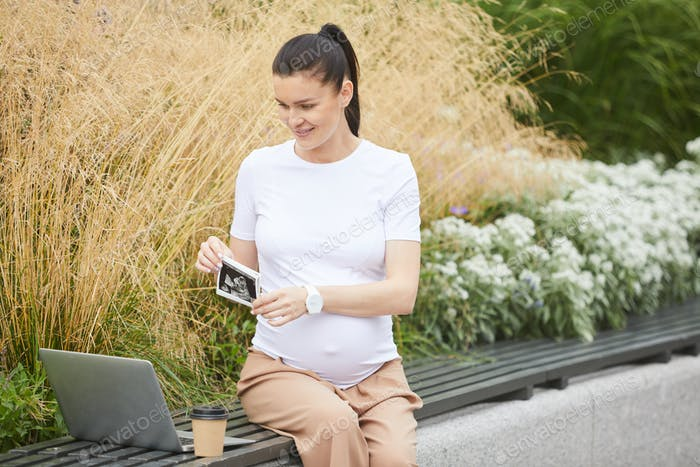 Pregnant woman using laptop outdoors