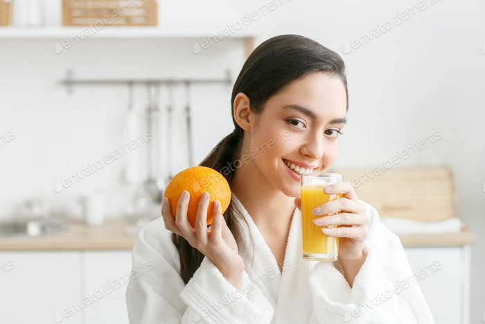Woman on kitchen with fruits and other food, healthy lifestyle, female home alone