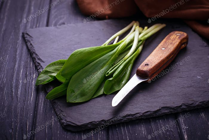 Ramson and knife on slate background