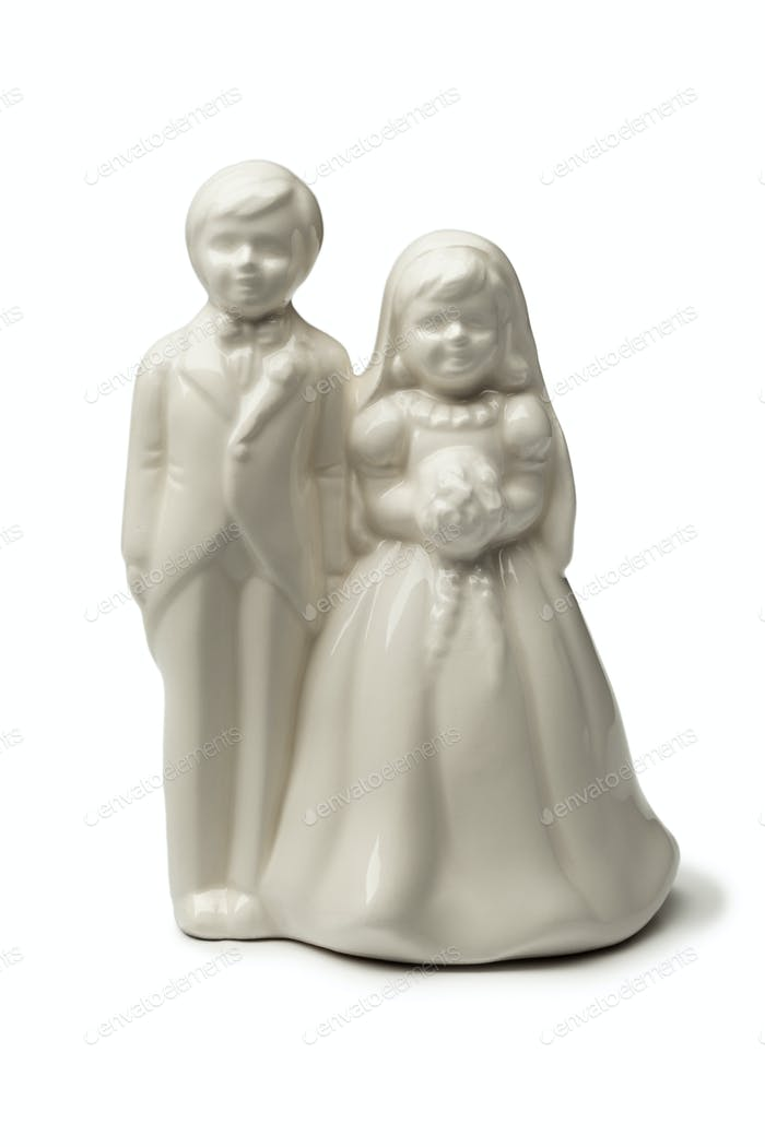 White Bride and groom porcelain figurine