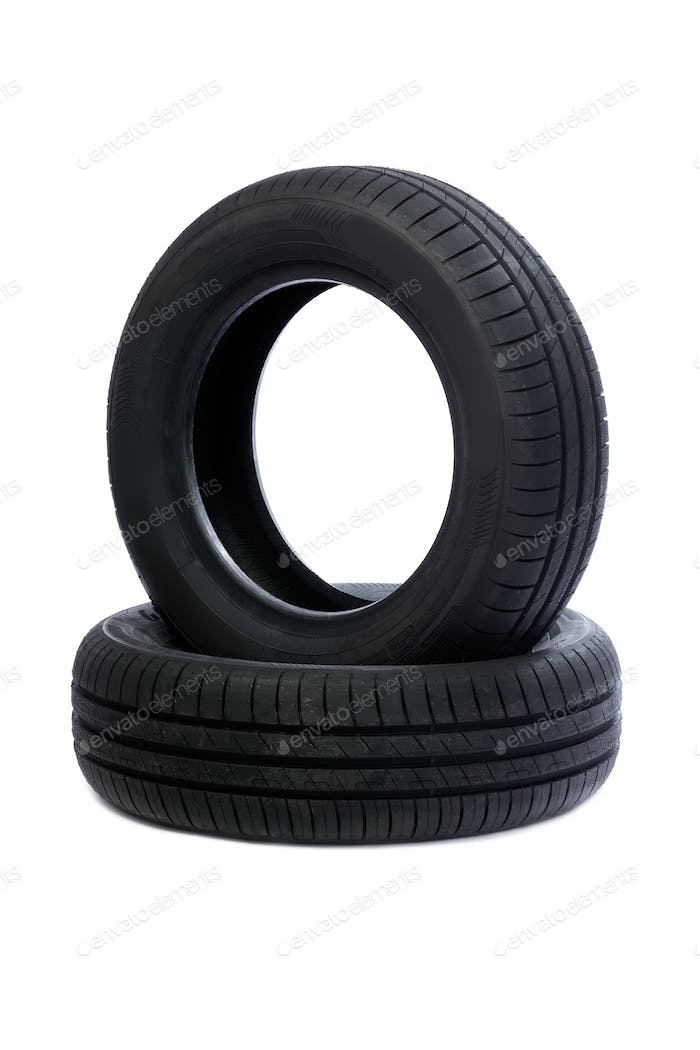 Two Car tire isolated