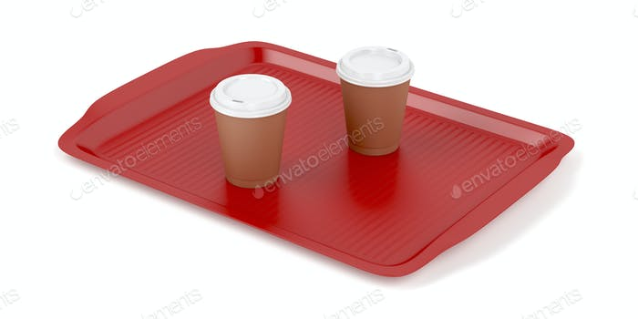 Plastic tray with two coffee cups