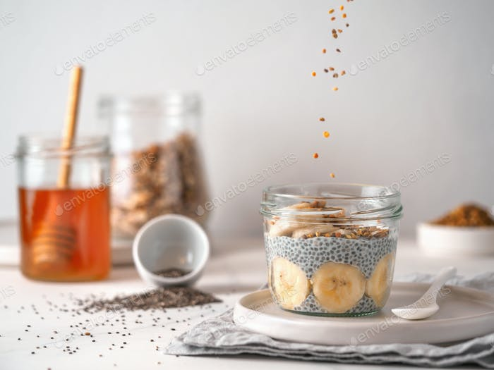 banana chia pudding and falling oatmeal granola