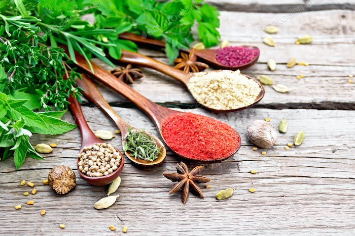 Spices in spoons on wooden board