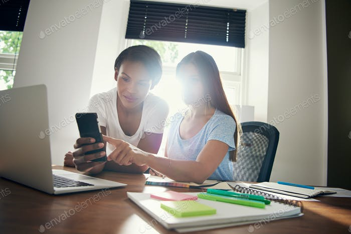 Two young businesswomen checking messages