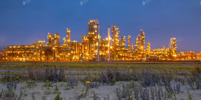 Landscape with natural vegetation and industry
