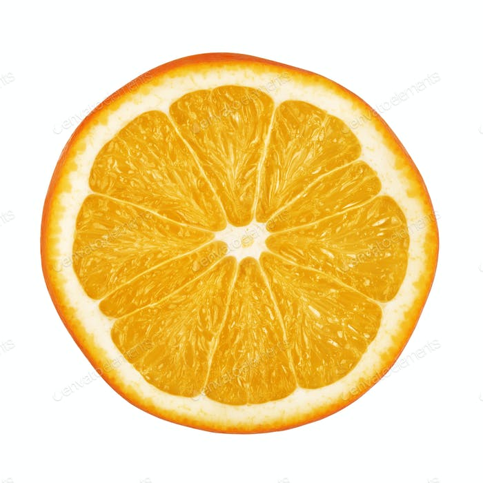 Slice of juicy orange fruit isolated on white
