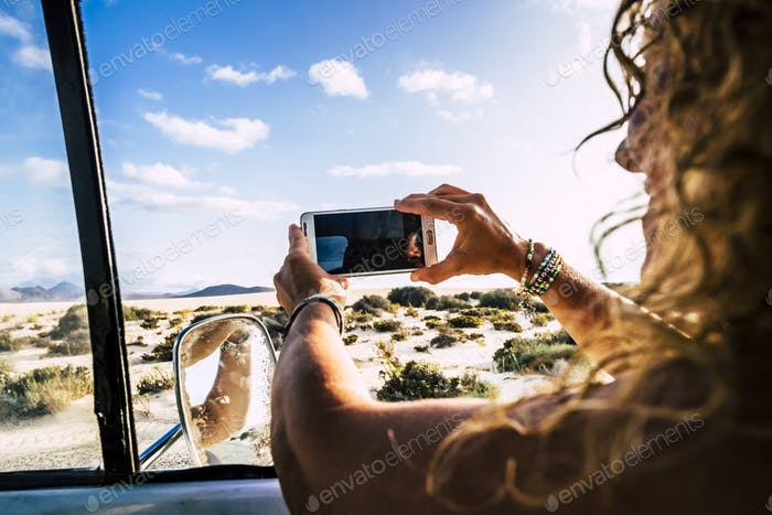 Concept of travel and summer holiday vacation with passenger happy woman inside a car