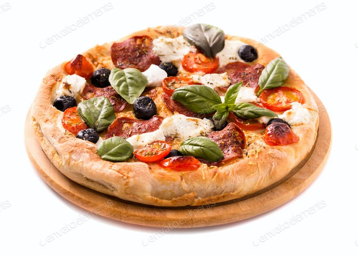Pizza with salami and mozzarella rustic style isolated on white