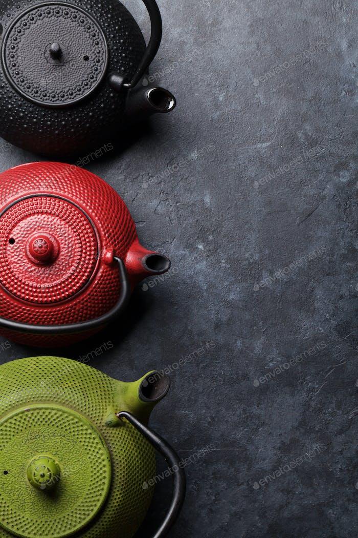 Various tea pots