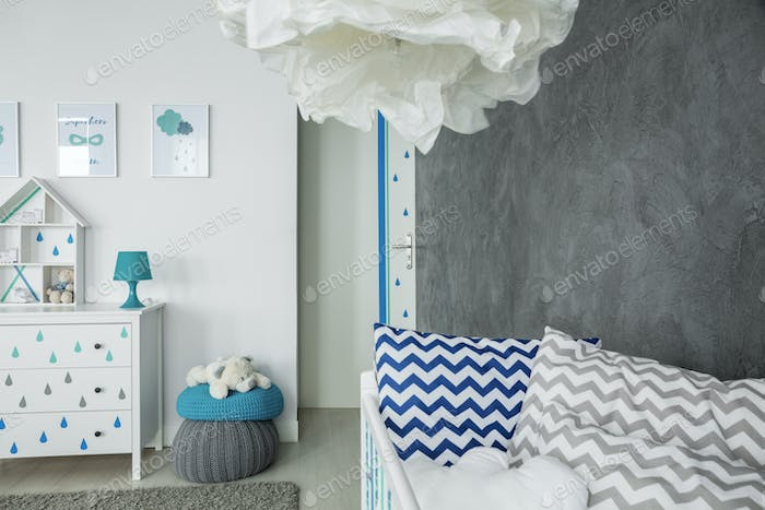 Child room with concrete wall