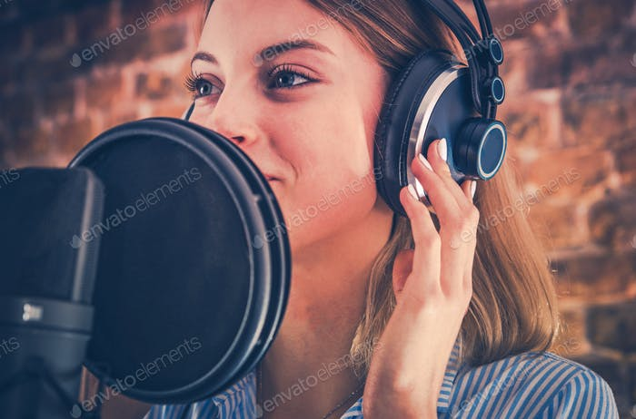 Woman Recording Audiobook