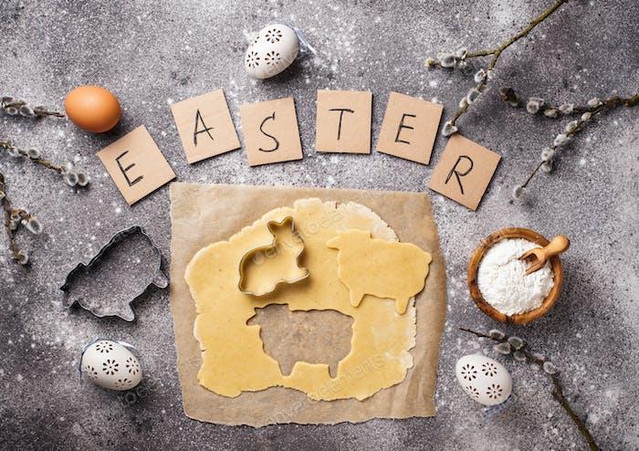 Lebkuchenteig zum Kochen von Osterplätzchen