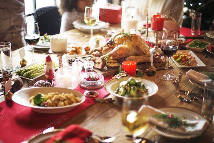 Family Together Weihnachtsfeier Konzept