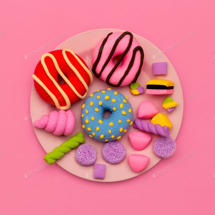 Set  Donuts and sweets. Flat lay candy minimal art